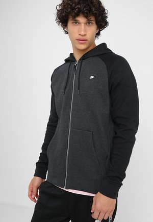 OPTIC HOODIE - Huvtröja med dragkedja - black