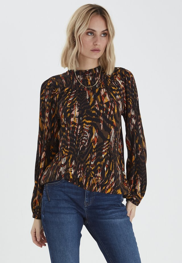 Blouse - brown animal printed