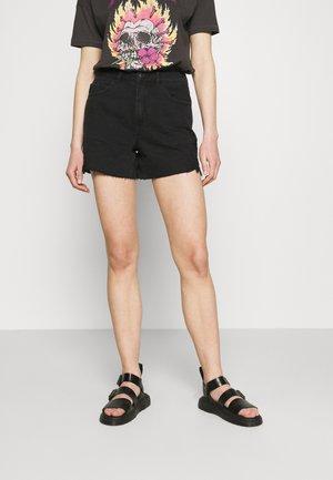 VMNINETEEN CROCHET - Denim shorts - black