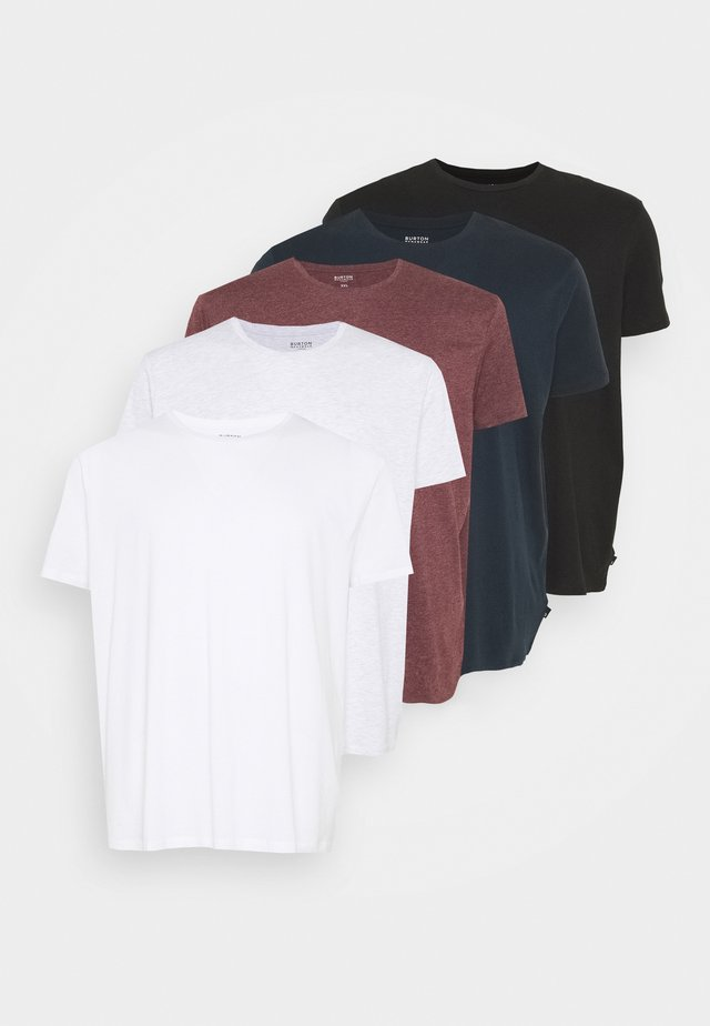 SHORT SLEEVE CREW 5 PACK - T-shirt basic - black/white/navy