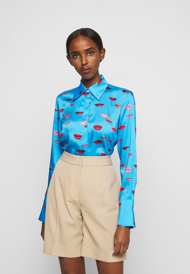 LIPS PRINT SHIRT - Button-down blouse - cyan blue