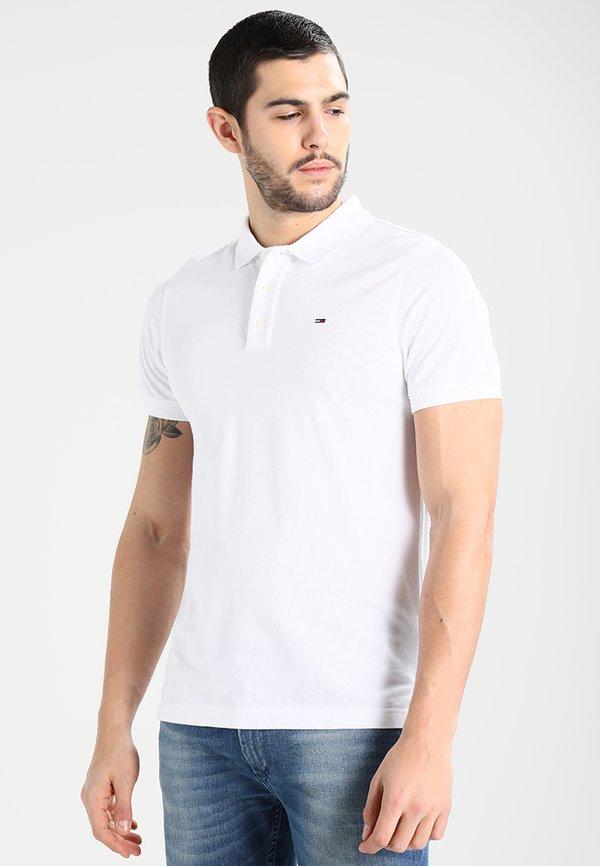 Tommy Jeans ORIGINAL FINE SLIM FIT - Koszulka polo - classic white/biały Odzież Męska CAYV