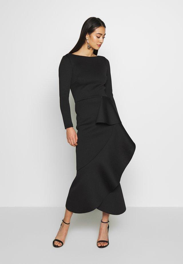 TRUE LONG SLEEVE FRILL DRESS - Robe de cocktail - black