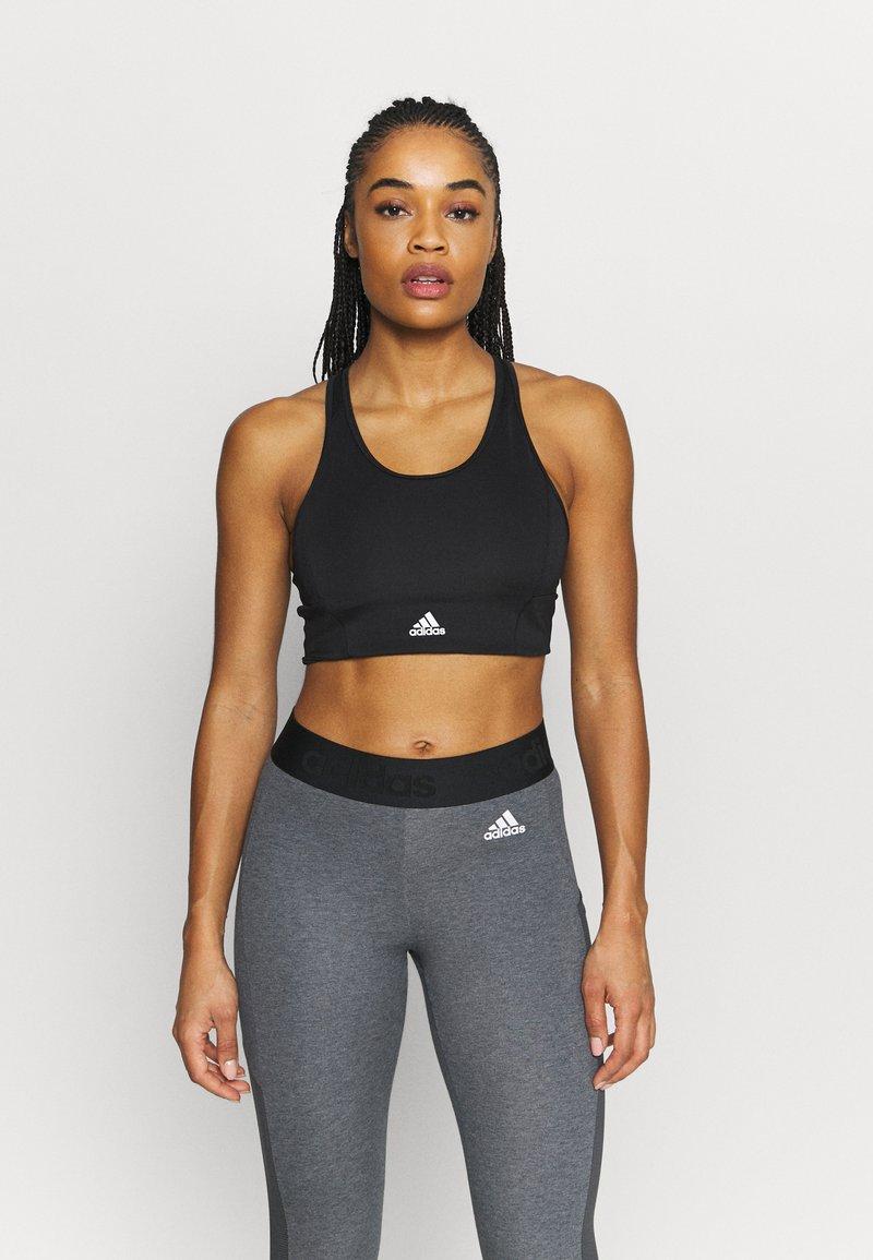 adidas Performance - Light support sports bra - black/white