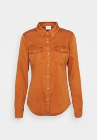 Vila - VIBISTA DENIM SHIRT - Button-down blouse - adobe - 0