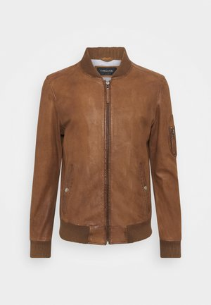 UNITED - Leather jacket - tobacco
