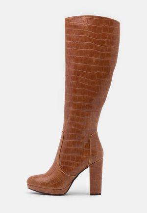 MARIE - High heeled boots - cognac