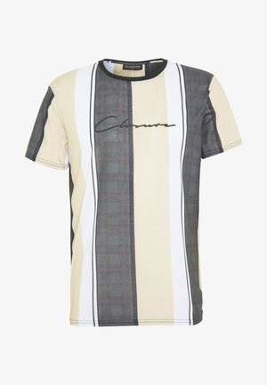 TEXTURED STRIPED TEE - T-shirt imprimé - stone
