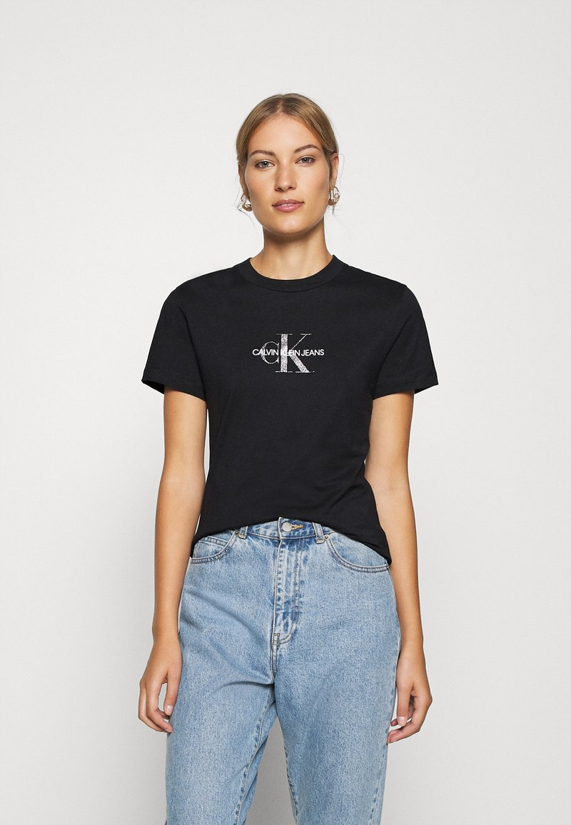 Calvin Klein Jeans - GLITTER MONOGRAM TEE - Print T-shirt - black