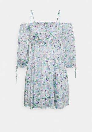 OFF SHOULDER MINI DRESS - Day dress - light blue