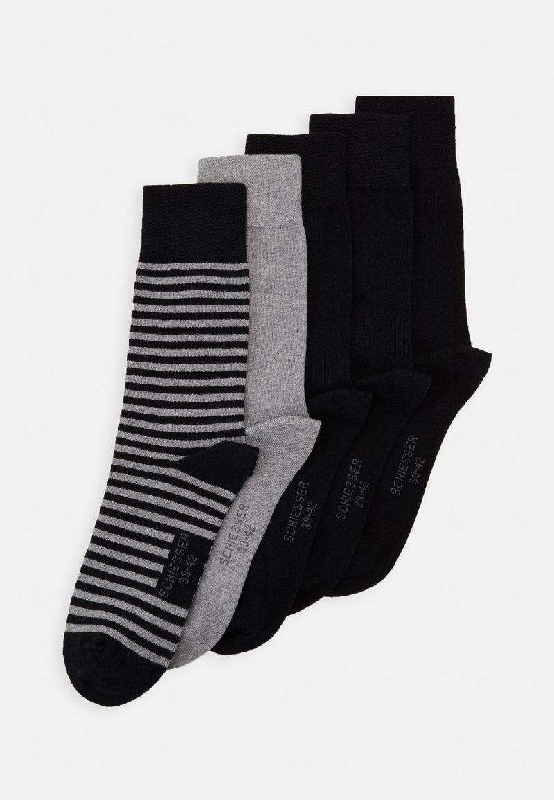 Schiesser - 5 PACK - Socks - black/mottled dark grey