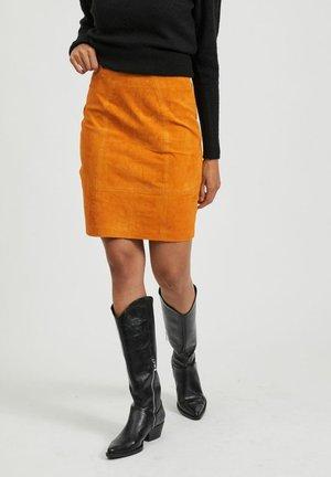 Leather skirt - pumpkin spice