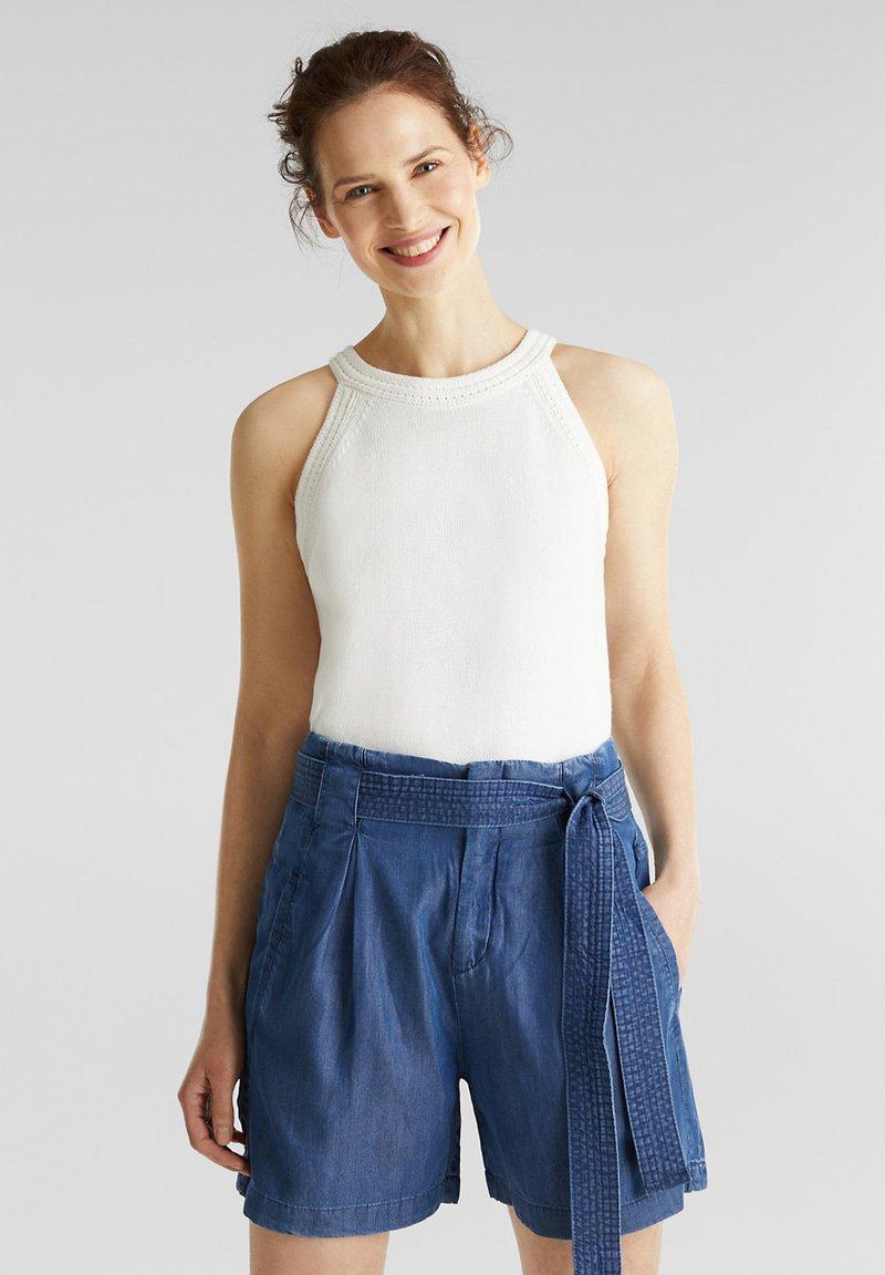 Esprit - PAPERBAG SHORT - Shorts - blue dark wash
