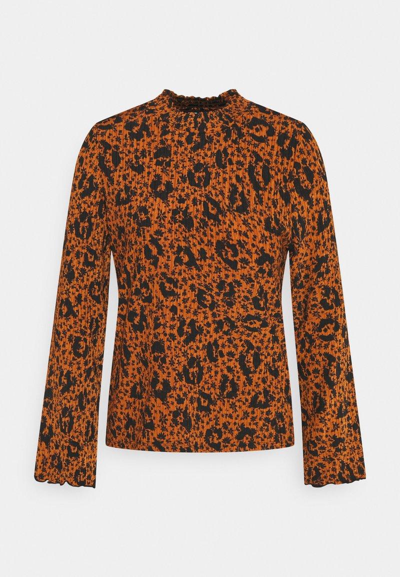 TOM TAILOR DENIM - SMOCKED NECK - T-shirt à manches longues - brown