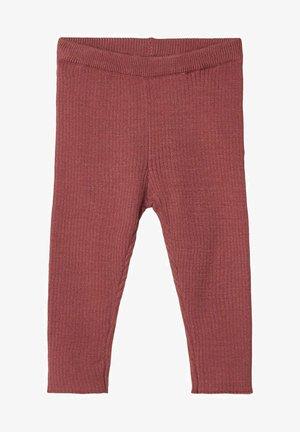 GESTRICKTE RIPPDESIGN - Leggings - Trousers - mahogany