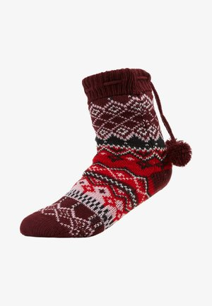 COSY SOCK FAIRISLE POM POM - Slippers - windsor wine
