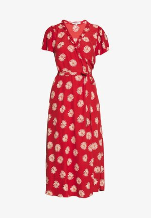 RUFFLE TRIM WRAP MIDI DRESS - Day dress - red
