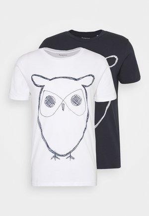 ALDER OWL TEE 2 PACK - Print T-shirt - blue/white