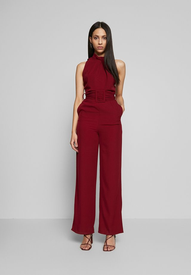 HIGH NECK BELTED - Overall / Jumpsuit - burgundy