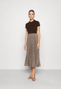 Polo Ralph Lauren - PAPA SHORT SLEEEVE DAY DRESS - Jumper dress - brown - 0