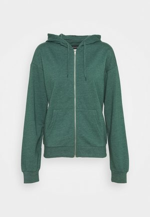 BASIC - Regular fit hoodie jacket with pockets - Mikina na zip - mottled teal