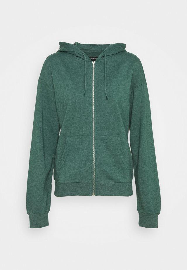 BASIC - Regular fit hoodie jacket with pockets - Hoodie met rits - mottled teal