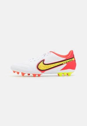 TIEMPO LEGEND 9 ACADEMY AG - Moulded stud football boots - white/bright crimson/volt