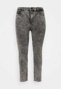 ONLY Carmakoma - CARRICA LIFE ANKLE RAW - Straight leg jeans - black/acid - 4