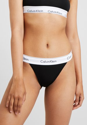 MODERN HIGH LEG TANGA - Slip - black