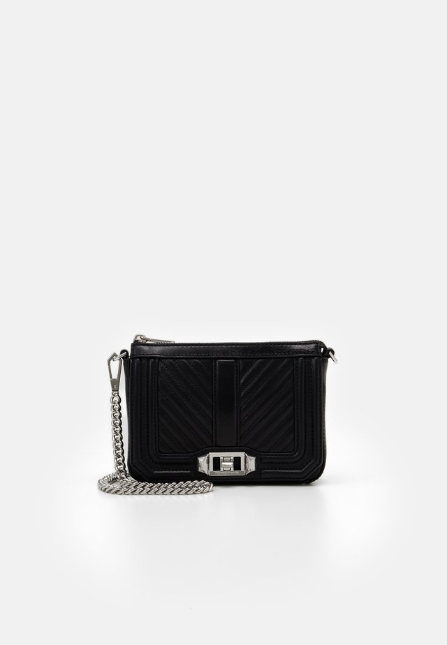 CHEVRON QUILTED MINI LOVE SHOULDER - Across body bag - black