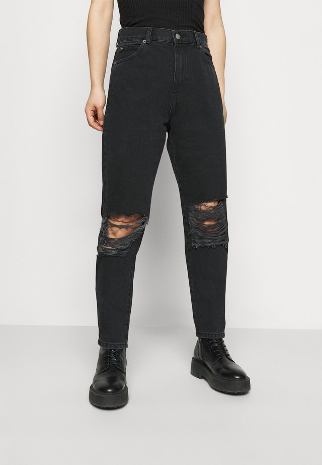 NORA PETITE - Relaxed fit jeans - concrete black ripped
