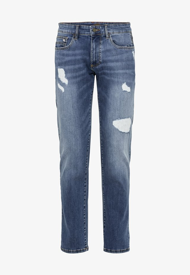SLIM FIT JEANS - Slim fit jeans - mid blue destroy