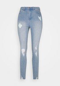 Missguided - SINNER HIGHWAISTED DESTROYED - Jeans Skinny Fit - light blue - 4