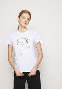 KARL LAGERFELD - IKONIK OUTLINE  - T-Shirt print - white - 0