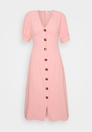 PUFF SLEEVE MIDI DRESS WITH FRONT BUTTON DETAIL - Denní šaty - light coral