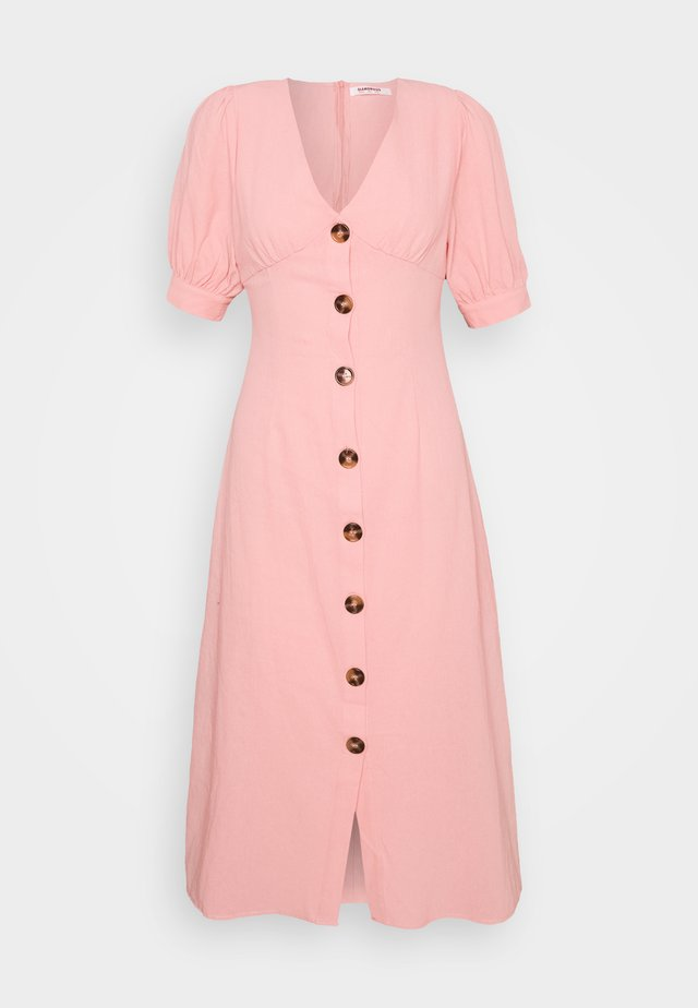 PUFF SLEEVE MIDI DRESS WITH FRONT BUTTON DETAIL - Kjole - light coral