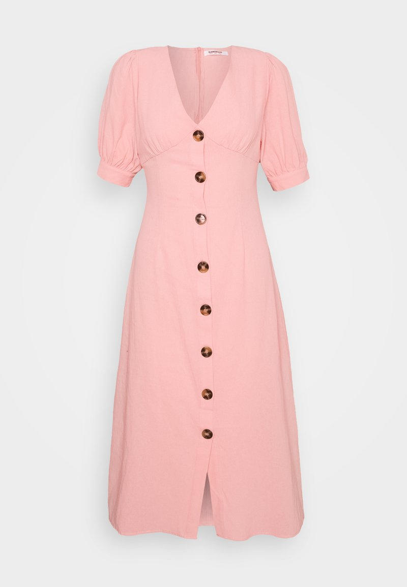 Glamorous - PUFF SLEEVE MIDI DRESS WITH FRONT BUTTON DETAIL - Day dress - light coral