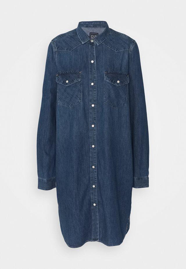 WESTERN DRESS  - Denim dress - medium indigo