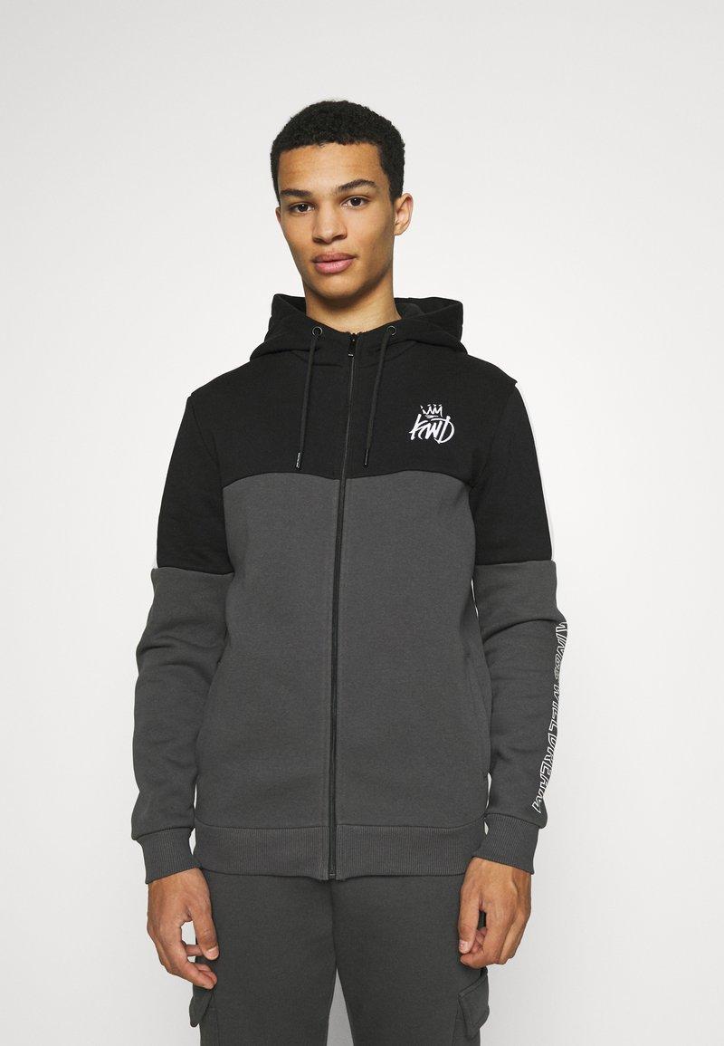 Kings Will Dream - FARNELL ZIP THROUGH HOOD - Zip-up sweatshirt - asphalt/jet black