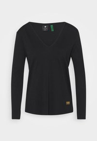 G-Star - CORE STRAIGHT V T WMN L\S - Langarmshirt - dark black - 3