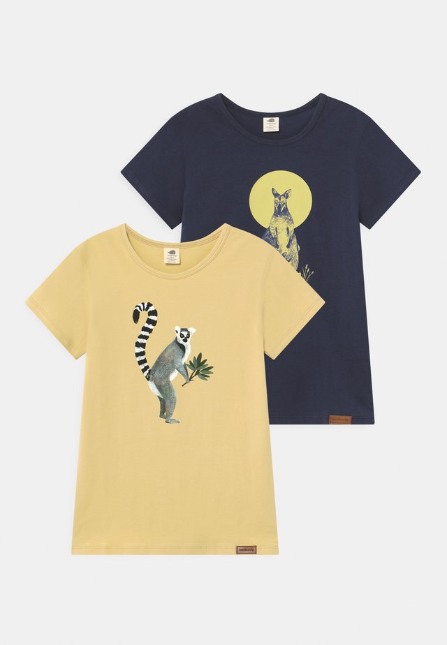 KANGAROO LEMUR 2 PACK UNISEX - T-shirt print - yellow/dark blue