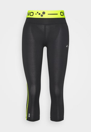 ONPJACEI TIGHTS - Leggings - black/saftey yellow