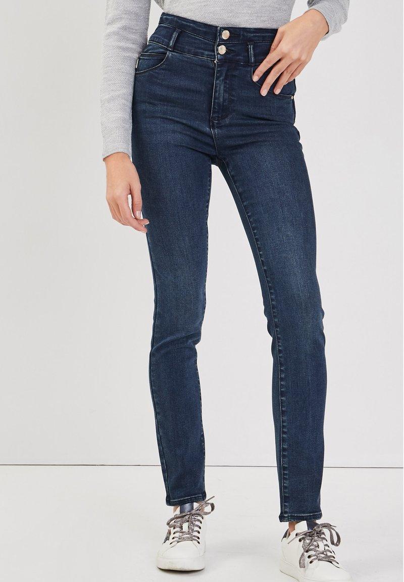 Cache Cache - MIT HOHER TAILLE - Slim fit jeans - denim blue black