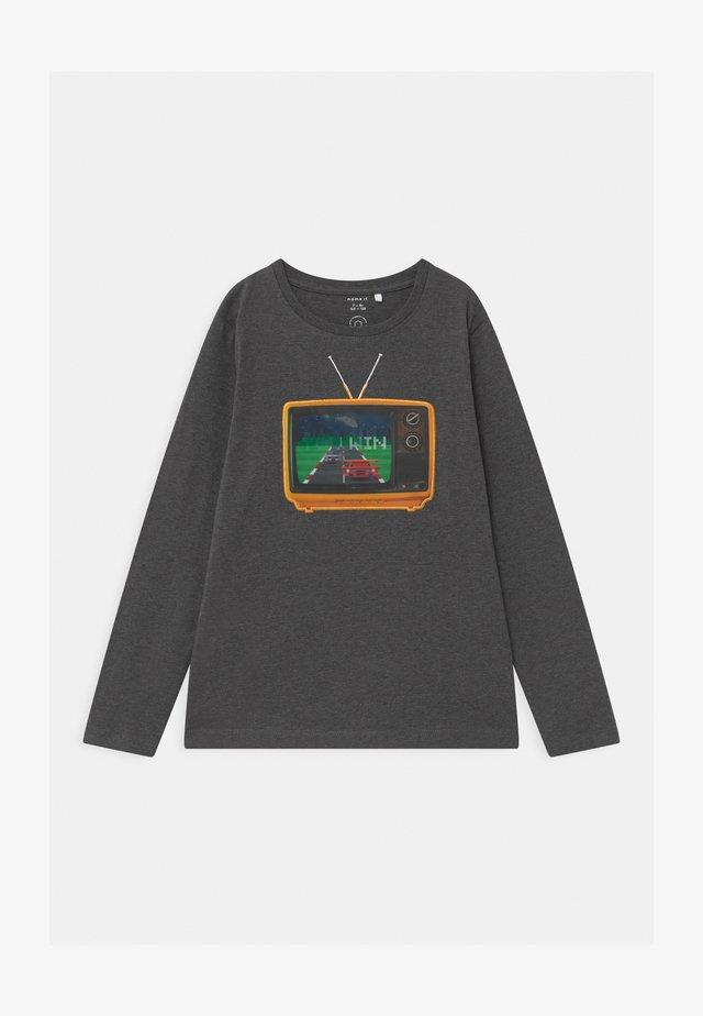 NMMODAR BOX - Long sleeved top - dark grey melange