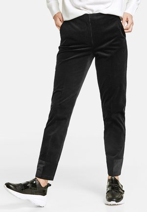 MIT GLANZSAUM - Trousers - schwarz