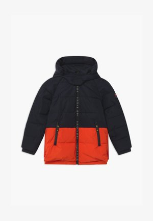 HOODED BRANDED ZIPPER COLOUR BLOCK - Zimní bunda - navy/red