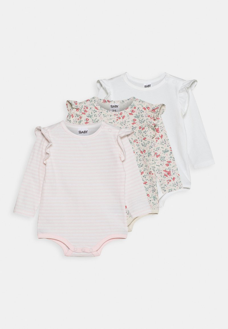 Cotton On - LONG SLEEVE RUFFLE BUBBYSUIT 3 PACK - Body - maude/vanilla/crystal pink