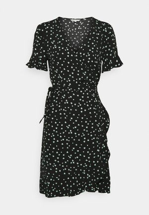 MINI  WRAP DRESS - Denní šaty - black
