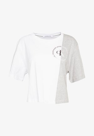 ROUND LOGO BLOCKED TEE - Print T-shirt - light grey heather