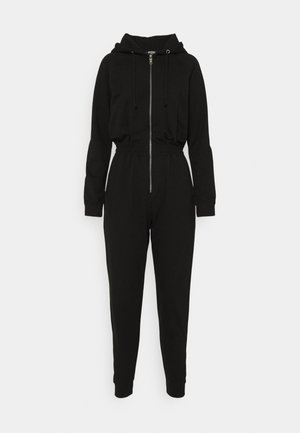 HOODED LOOP BACK - Jumpsuit - black